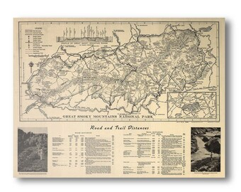 Great Smoky Mountains National Park 1941 Antique Map - Archival Reproduction