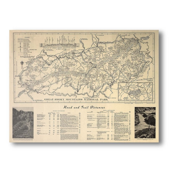 Great Smoky Mountains National Park 1941 Antique Map   Etsy