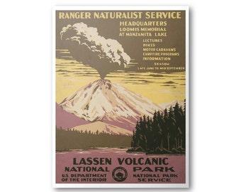 Lassen Volcanic National Park Poster - WPA National Park Poster -