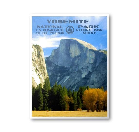 Yosemite Poster Half Dome Poster Yosemite National By: Yosemite National Park Poster Half Dome