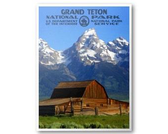 Grand Teton National Park Poster (T. A. Moulton Barn)