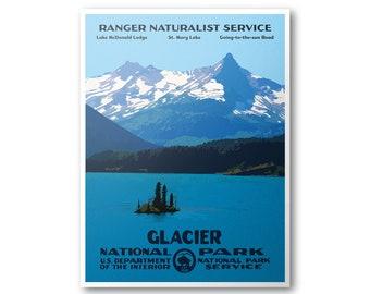 Glacier National Park Poster   National Park Print   National Park Art   WPA Poster