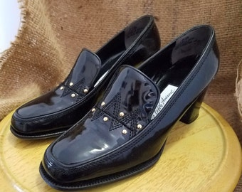 Vintage Saks Fifth Avenue / Beth's Bootery Women's Black Patent Leather Heels - NEW - Size 5.5B
