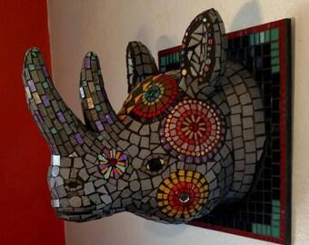 Mosaic Rhino Head