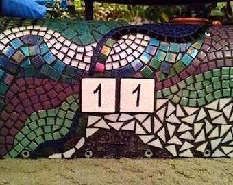 Mosaic Mailbox teal, purple, pearlescent
