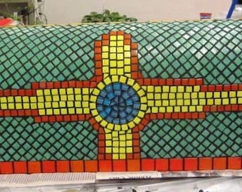 Mosaic Mailbox Zia Sun Sign (symbol of the Zia Pueblo tribe and the flag of New Mexico .. in custom colors)
