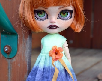 Neon Green and Navy Blue Hand Dyed Blythe Doll Dress - Will fit Pullip Doll- Handmade OOAK