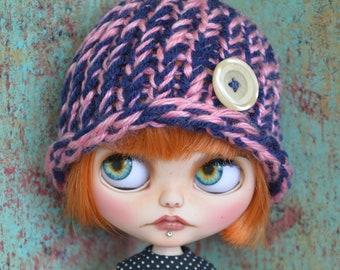 Blythe Doll Accessories Blue//W Furry Hat Helmet Hat Only HelloChiohandmade