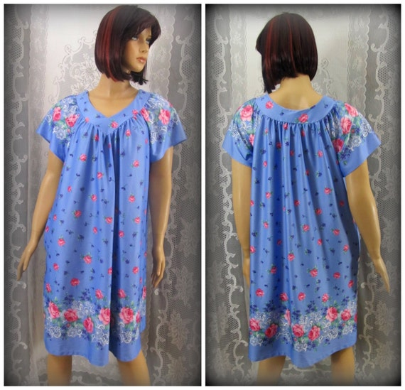 Women's night gown, Floral night gown, Blue night