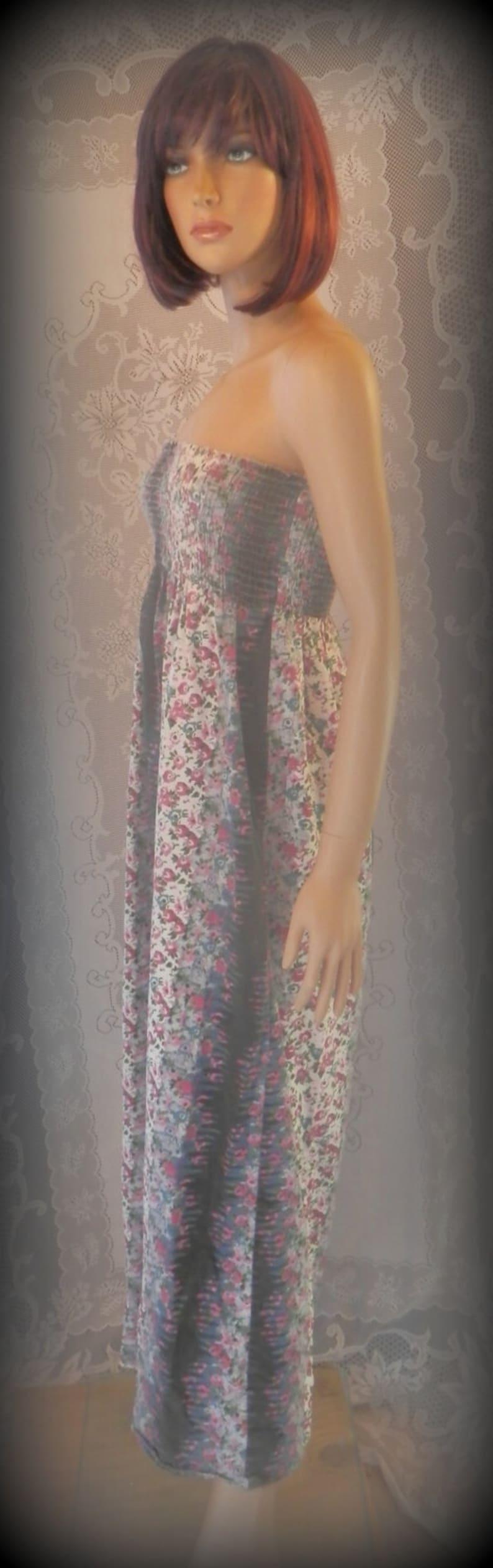 Long dress Strapless dress Hippie dress Sun dress Floral Dress Womens Dress Boho dress Summer dress