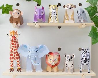 Papercraft Safari Animal Toys  / Jungle Animals / Safari Nursery Art / Safari Baby Shower / Safari Birthday /Safari Digital Paper / Elephant