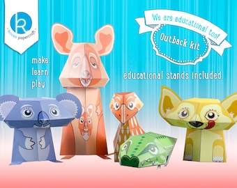 Australian Animal Toys - Printable DIY Papercraft Kit - Educational - Kooee and the Outback Buddies. - by Kooee Papercraft