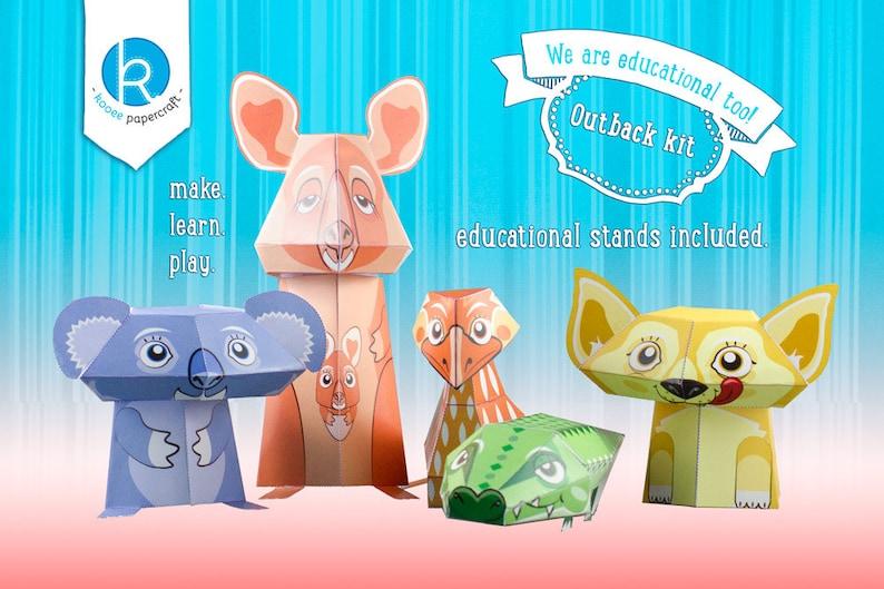 Australian Animal Toys  Printable DIY Papercraft Kit  image 0