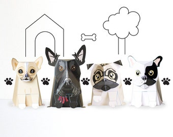 Paper Craft Dog Pack / Paper / DIY / Paper Dog / Low Poly / Origami / French Bulldog / Dogs / Pdf / Paper craft template / INSTANT DOWNLOAD