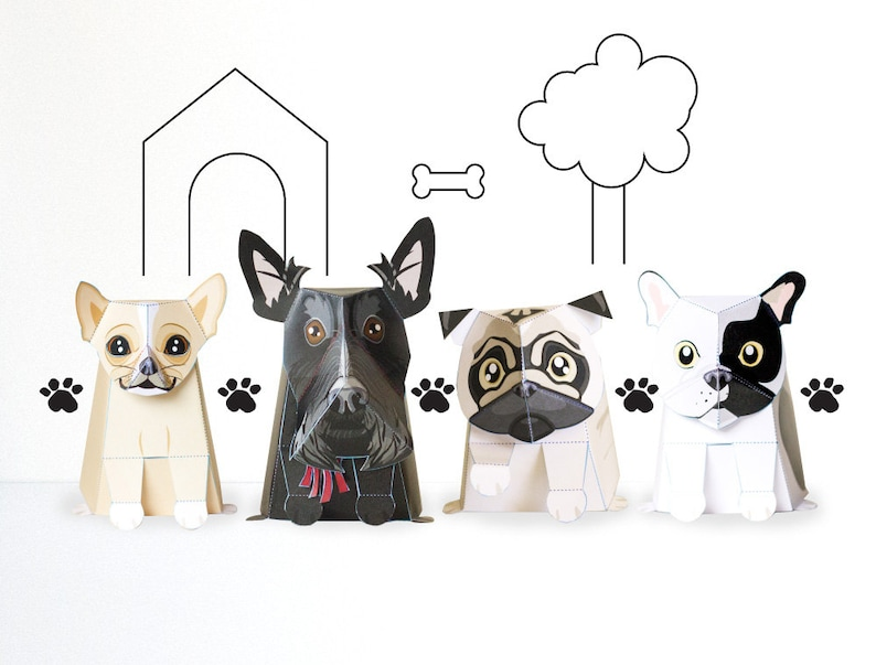 Paper Craft Dog Pack / Paper / DIY / Paper Dog / Low Poly / image 0