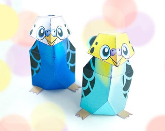 Pet Budgies - Printable / DIY Paper craft Kit / INSTANT DOWNLOAD / 3D Budgies. - by Kooee Papercraft