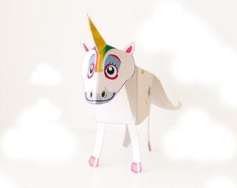 Unicorn / Unicorn Papercraft / DIY / Papercraft Unicorn / 3D Papercraft / Unicorn Party / INSTANT DOWNLOAD - by Kooee Papercraft