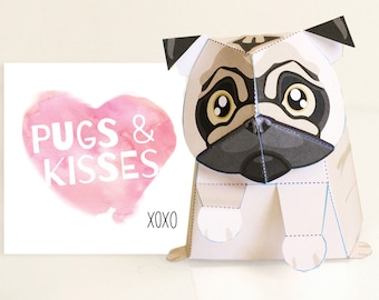 Pug / Valentine's Day card / Pug toy / Printable / DIY Paper craft Kit / 3D Pug / INSTANT Download - by Kooee Papercraft