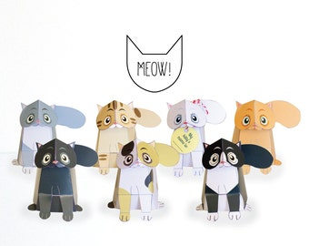 Printable Cat Paper craft / Cat Sculpture/ low poly / papercrafting / Paper Cat / kitten / Cat template / Origami / INSTANT DOWNLOAD