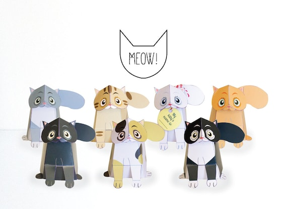 Printable Cat Paper Craft Sculpture Low Poly