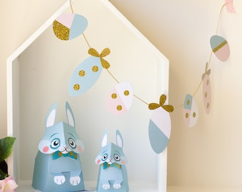 Easter Bunny / Bunny Paper toy / Easter decor /Printable / DIY Paper craft Kit / 3D Bunny / INSTANT DOWNLOAD - by Kooee Papercraft