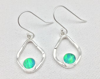 30b95ec2c Green Fire Opal Silver Earrings // 925 Sterling Silver // Hammered Oval  Setting // Round Opal Stone // Amazon Green Colour