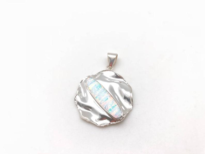 White Opal Pendant  925 Sterling Silver  Lightly Hammered Circle Setting  Fire Opal Pendant  Sterling Opal Pendant