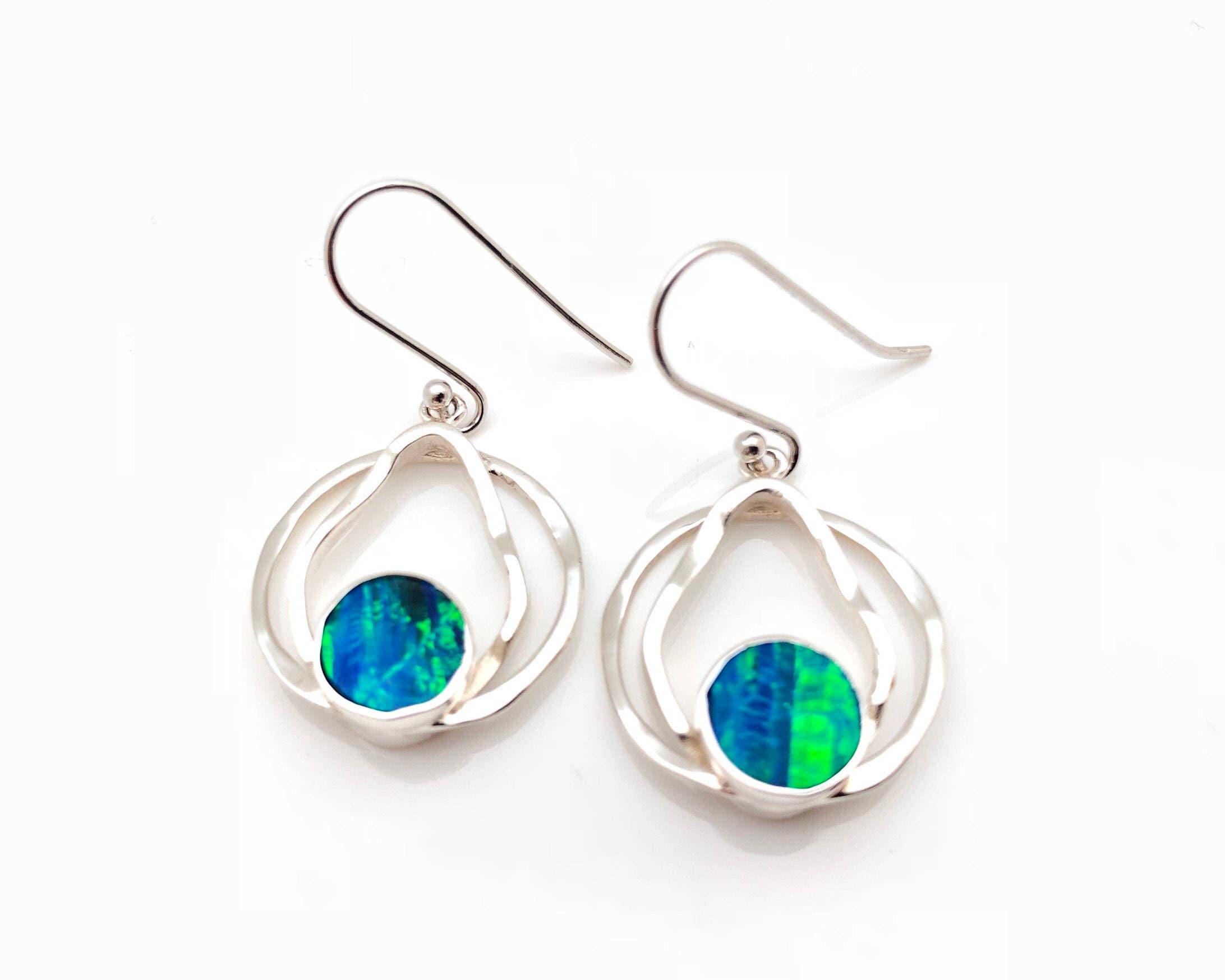 blue opal earrings 925 sterling silver round teardrop. Black Bedroom Furniture Sets. Home Design Ideas