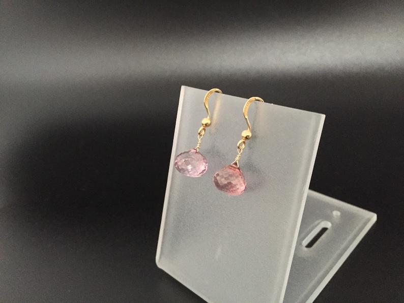 Pink Quartz Gold Earrings  Pink Quartz Onion Briolette  Gold Vermeil