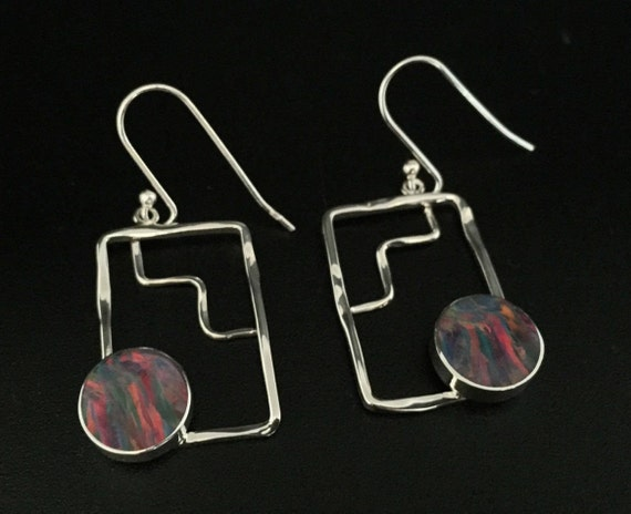 White Fire Opal Earrings  Sterling Silver  Hammered Rectangular Setting  Geometric Opal Earrings  Opal Earrings  Opal