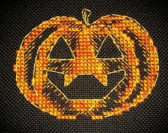Punkin - *digital pattern* Halloween cross stitch!  pumpkin, spooky, fall, creepy, halloween craft, jack o lantern, cross stitch