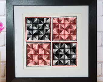 Between the lines - *digital pattern* beginner, red and black, geometric, hoop art, lovely gift, modern and simple