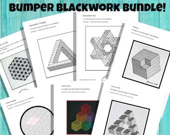 Blackwork Bumper Bundle!  - *7 digital patterns!*  Blackwork, embroidery, geometric, mindfulness, modern, simple, cross stitch,