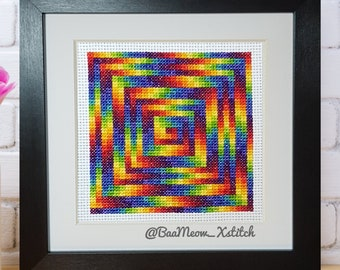 Rainbow Spiral  - *digital pattern* cross stitch pattern, embroidery, geometric, modern cross stitch, beginner, rainbow, op art,