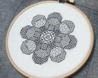Octoflower - *digital pattern* 2 VERSIONS! Blackwork, embroidery, geometric, hoop art, mindfulness, modern and simple, vibrant,