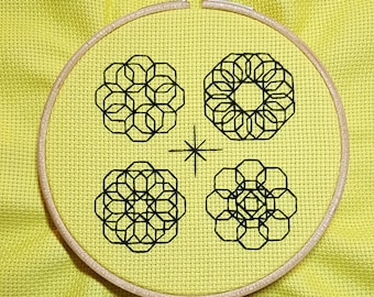 Octograph - *digital pattern* Blackwork, embroidery, geometric, hoop art, mindfulness, modern and simple