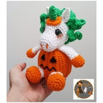 SWC Unicorn Pumpkin Halloween - Amigurumi Crochet Pattern - Pdf Instant Download -  Halloween Crochet Pattern