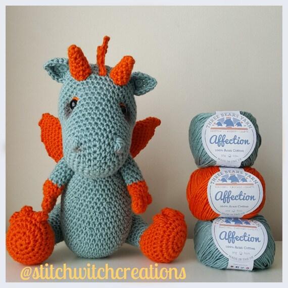 Hoooked DIY Crochet Kit Danny the Dragon Amigurumi Ribbon XL ... | 570x570