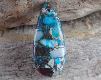 Turquoise Blue Jasper Pendant Statement Pendant UK Jewellery Making Supplies G7 Focal 50x20mm Semi Precious Gemstone Loose Stone