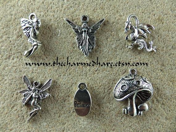 BULK 50 Witch charms antique silver tone HC109