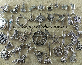 41 x BULK Mixed Pagan Charms, Wholesale Wiccan Silver Pendants Set, Bracelet Charms, Pentagram Moon Goddess Hare Raven, Jewelry Supplies, UK