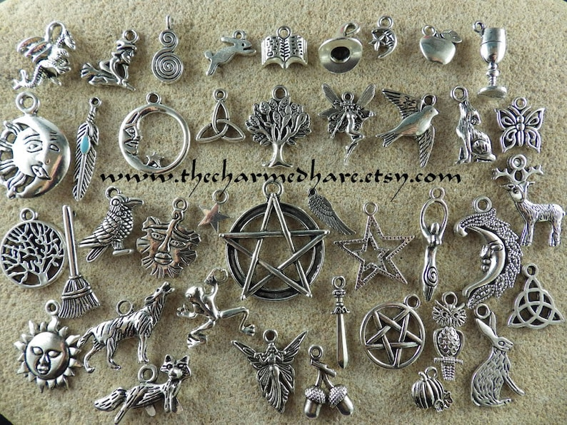 41 x BULK Mixed Pagan Charms Wholesale Wiccan Silver Pendants image 0