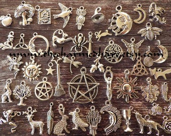 50 x Wholesale Bulk Pagan Charms, Mixed Wiccan Gothic Wicca Silver Pendants Set, Bracelet Charms, Pentagram Moon Goddess Hare Raven, UK