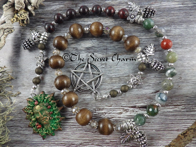 Oak King Pagan Prayer Beads, Green Man Witches' Ladder, Pagan Rosary,  Forest Meditation Beads, Wiccan Spell Casting, Worry Beads