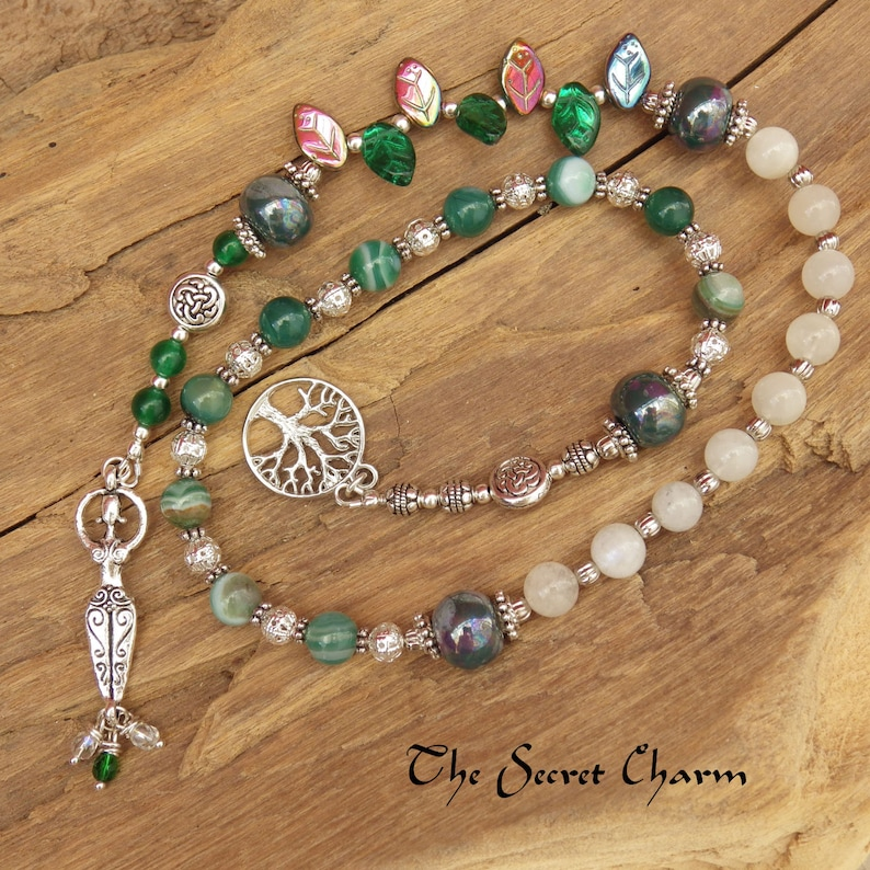 Daughter Of The Forest Pagan Prayer Beads - Witches Ladder - Witches Rosary  - Spell Casting - Wiccan Meditation Beads - Hedge Witch
