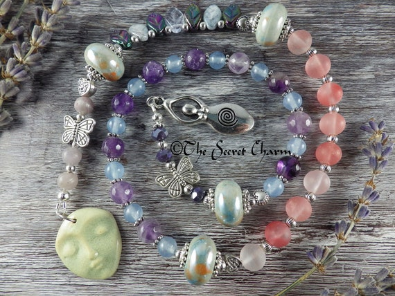 Celtic Goddess Aine Pagan Prayer Beads, Love Spell Casting, Witches'  Ladder, Wiccan Meditation Beads, Mala, Worry Beads, Pagan Rosary