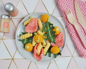 Crochet fusilli with arugula, smoked salmon and cherry tomatoes, noodles, pasta, pretend play food, Montessori, amigurumi toys, Kinderküche