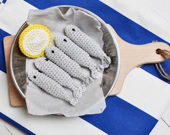 Crochet sardine - fish, dinner, crochet food, Montessori, pretended play, kitchen, cooking, shop accessories, amigurumi food, gift, eco