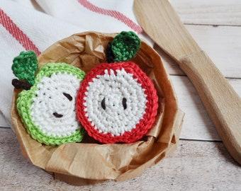 Crochet apple slice - 1 piece - crochet fruit, play food, Montessori spielzeug, kinderküche, cuisine, kitchen, pretend play, Christmas