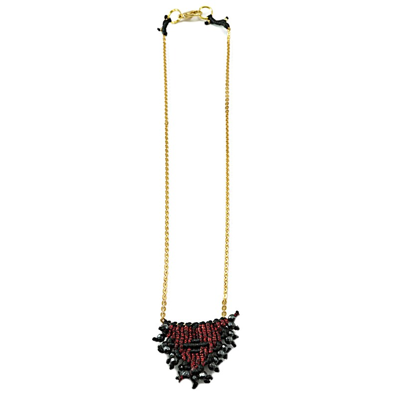 Birthday gift Gift for her brass chain Macrame amulet necklace Unique gift for women